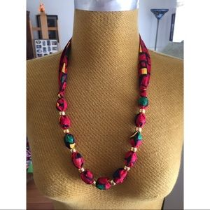 Red Fabric and Beaded Necklace Vintage 90's